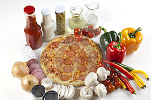 Pizza With Salami Stock Images - Image: 9822754