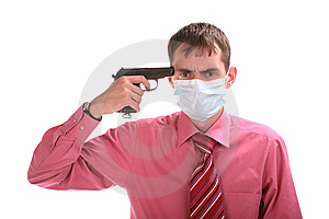 Guy With Gun In A Mask Isolated Royalty Free Stock Photography - Image: 9823717