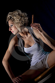 Blond Lady In Shorts Stock Image - Image: 9824221
