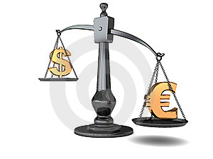 Dollar And Euro On Scale Royalty Free Stock Photos - Image: 9824738