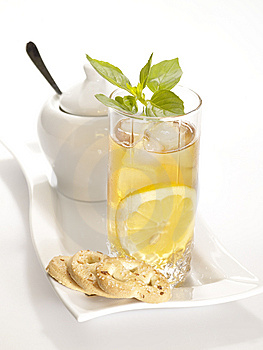 Cold Black Tea With Lemon Stock Photography - Image: 9825312