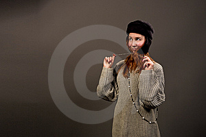Smiling Red Haired Girl In Winter Hat Royalty Free Stock Photos - Image: 9825328