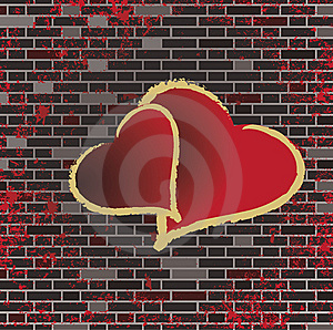 Tiled Brick Wall And The Romance Heart Raster Stock Image - Image: 9825681