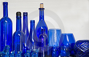 Multiple Blue Glasses, Bottles And Items Royalty Free Stock Image - Image: 9826766