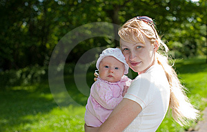 Baby And Mother Outdoors Stock Photo - Image: 9827140