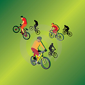 Bicyclists For Your Design Stock Photography - Image: 9827632