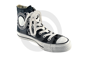 Black High Top Sneaker Royalty Free Stock Images - Image: 9831259
