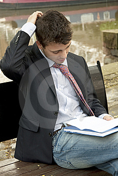 Studying Outside Royalty Free Stock Image - Image: 9833736
