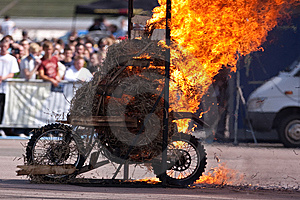 Stunt Rider And Wall Of Flames Stock Images - Image: 9835174