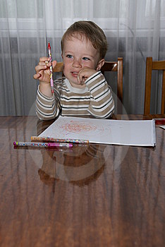 Boy Drawing Royalty Free Stock Photography - Image: 9835447