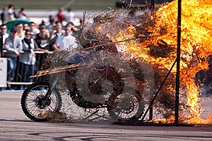 Stunt Rider And Wall Of Flames Royalty Free Stock Image - Image: 9836376