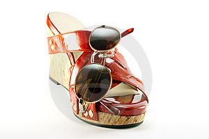 Red Shoe And Sunglasses Royalty Free Stock Image - Image: 9841666