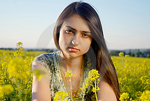 Girl On A Yellow Canola Field Stock Photography - Image: 9842322