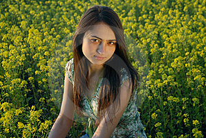 Girl On A Yellow Canola Field Stock Photos - Image: 9842653