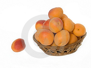 Basket With Pile Of Apricots Stock Images - Image: 9844314