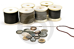 Thread Spindles, Buttons And Needle Stock Image - Image: 9847581