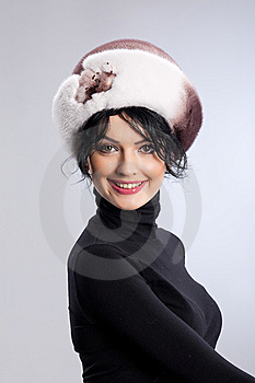 Woman In A Fur Hat Stock Photos - Image: 9850013