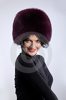 Woman In A Fur Hat Stock Image - Image: 9850111
