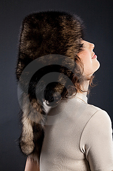 Woman In A Fur Hat Stock Image - Image: 9851261