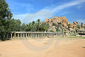 Temple In The Barren Landscape Of Hampi Royalty Free Stock Image - Image: 9851556