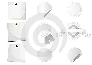 Set Of White Stickers Royalty Free Stock Images - Image: 9852729