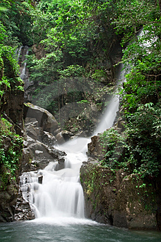 Waterfall Tropical Forest Of Thailand Royalty Free Stock Photos - Image: 9853268