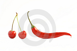 Red Pepper Chile And Cherries Royalty Free Stock Photo - Image: 9854835