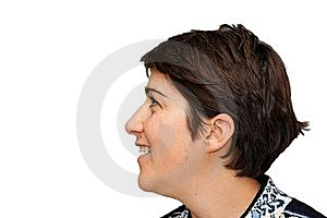 Smiling Woman  Profile Isolated Royalty Free Stock Images - Image: 9855179