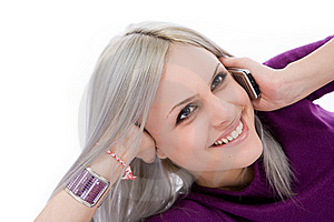 Blonde On A Cell Phone Royalty Free Stock Photo - Image: 9855565