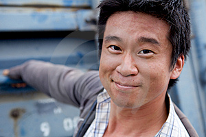 Casual Asian Man Smiling Royalty Free Stock Photos - Image: 9860718
