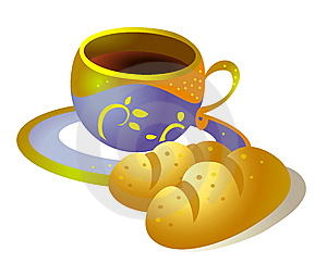 Coffee-cup And Bread Stock Photo - Image: 9860780