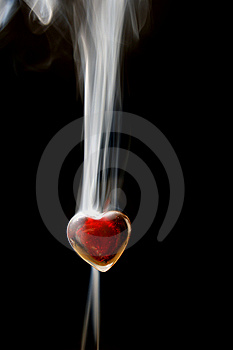 Red heart in smoke Royalty Free Stock Image