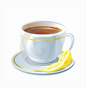 Vector Cup Of Tea With Lemon Royalty Free Stock Image - Image: 9861916