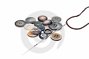 Buttons And Needle Stock Photo - Image: 9861970