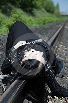 Gothic Girl On Railway Royalty Free Stock Photography - Image: 9862117