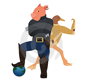 Swine And Bird Flu Conquer The World Royalty Free Stock Photos - Image: 9864458