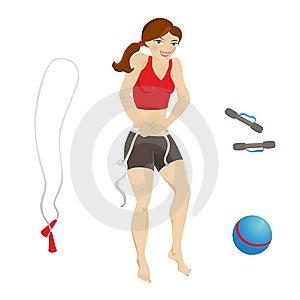 美丽的女孩她评定的体育运动腰部 免版税库存照片 - 图片: 9864465
