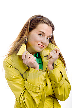 Woman In Yellow Raincoat Royalty Free Stock Photo - Image: 9866175