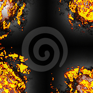 Fire Corners Over Black Royalty Free Stock Photos - Image: 9866688