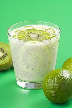Refreshment And Creamy Milkshake  Kiwi And Lime Stock Image - Image: 9870121