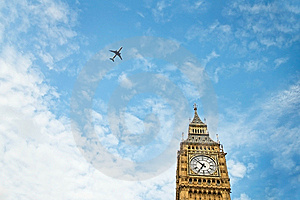 Big Ben And Aircraft Royalty Free Stock Images - Image: 9876929