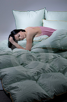 Woman, Blanket And Pillows Royalty Free Stock Images - Image: 9877449