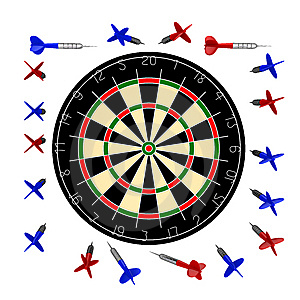 10000px Dartboard+darts Royalty Free Stock Photography - Image: 9878567