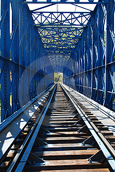 Blue Train Bridge Royalty Free Stock Photography - Image: 9882067