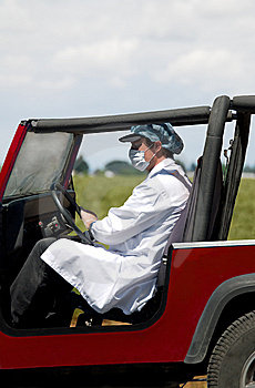 Health Worker Heading For Flu Outbreak. Royalty Free Stock Images - Image: 9882609