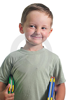 Smiling Boy With Books Royalty Free Stock Photos - Image: 9887378