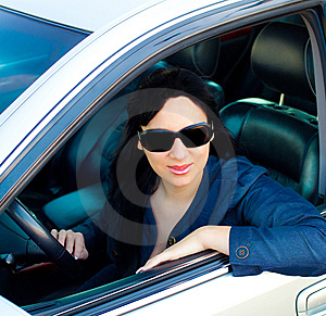 Beautiful Young Businesswoman In Her Car Royalty Free Stock Photography - Image: 9887587