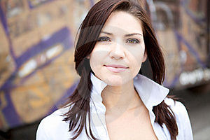 Beautiful Brunette In A Collared Shirt Royalty Free Stock Photo - Image: 9888555