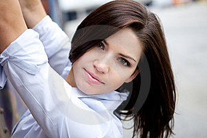 Beautiful Brunette In A Collared Shirt Royalty Free Stock Images - Image: 9888569