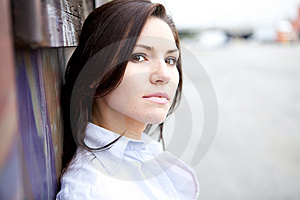 Beautiful Brunette In A Collared Shirt Stock Images - Image: 9888594
